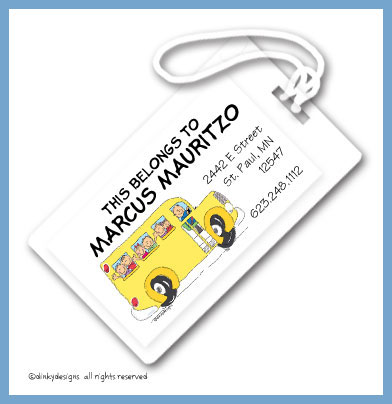 School bus with kids luggage tags, personalized