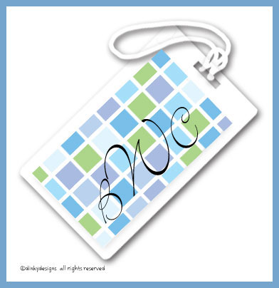 Blue tile luggage tags on pre-printed cardstock, personalized