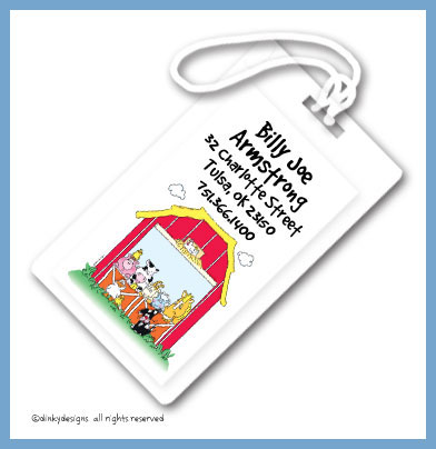 Barnyard pals luggage tags, personalized