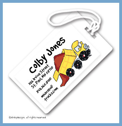 Big dump truck luggage tags, personalized