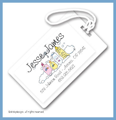 Baby bath luggage tags, personalized