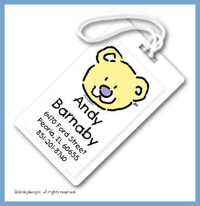 Bear luggage tags, personalized
