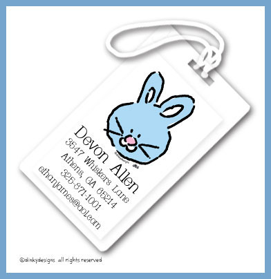 Bunny luggage tags, personalized