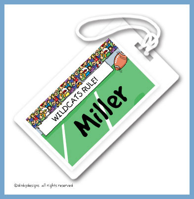 Football fans luggage tags on pre-printed cardstock, personalized