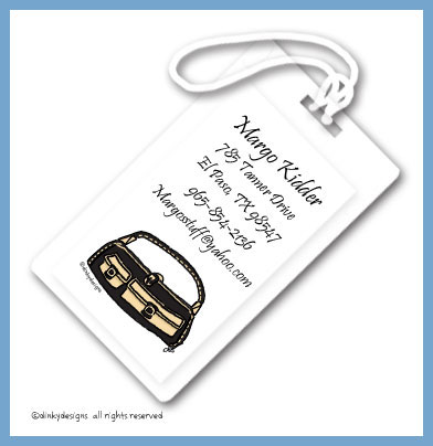 Black & tan pocketbook luggage tags, personalized