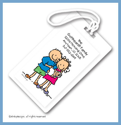 Baby, dick and jane luggage tags, personalized