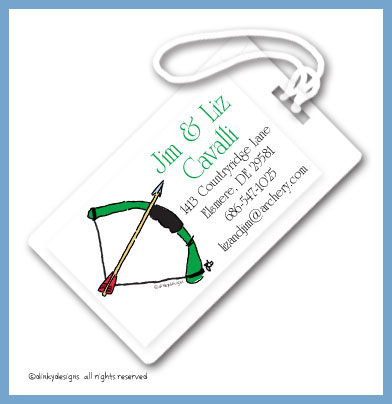 Bow & arrow luggage tags, personalized