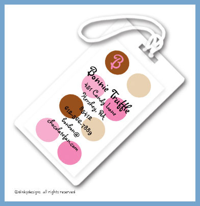 Bon bon dots luggage tags, personalized