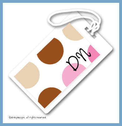Bon bon dots luggage tags on pre-printed cardstock, personalized