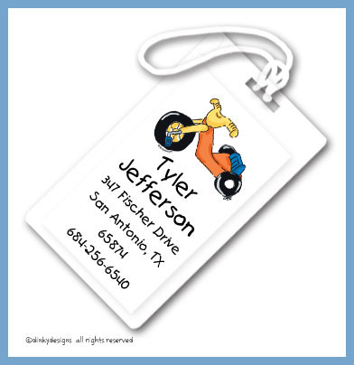 Big wheel luggage tags, personalized