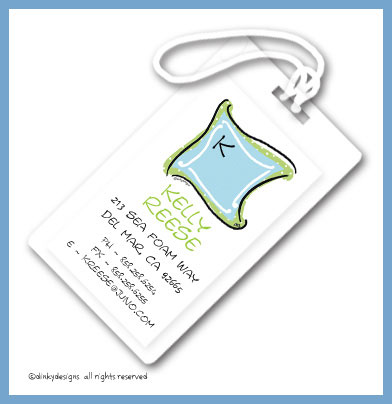 Blue green monogram luggage tags, personalized