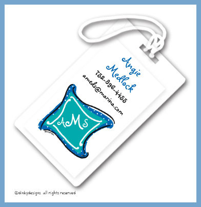 Aquamarine monogram luggage tags, personalized