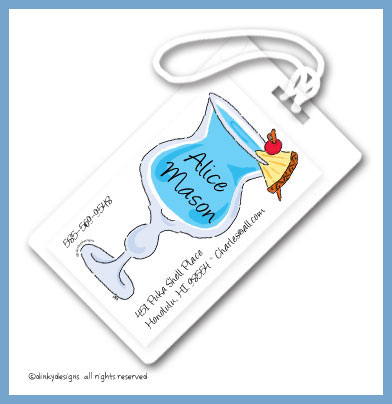 Blue Hawaiian luggage tags, personalized
