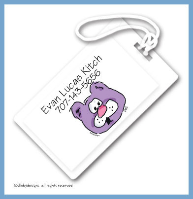 Barney bear luggage tags, personalized