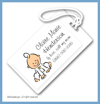 Baby steps - girl luggage tags, personalized
