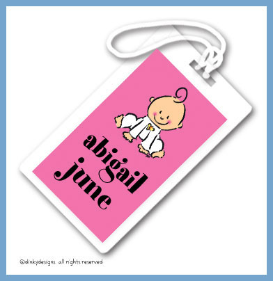 Baby steps - girl luggage tags on pre-printed cardstock, personalized