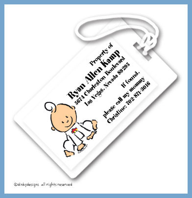 Baby steps - boy luggage tags, personalized