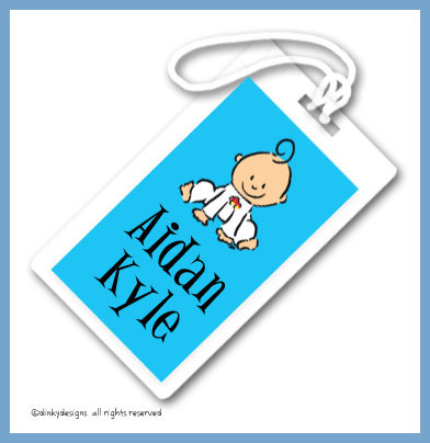 Baby steps - boy luggage tags on pre-printed cardstock, personalized