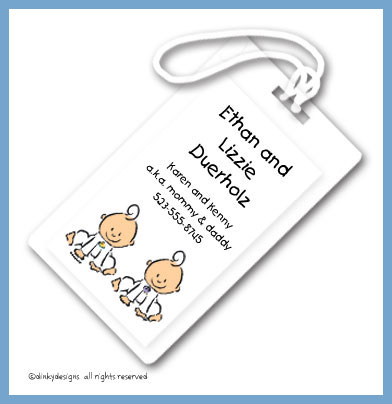 Baby steps - twins luggage tags, personalized