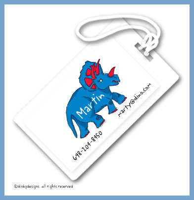 Blue dinosaur luggage tags, personalized