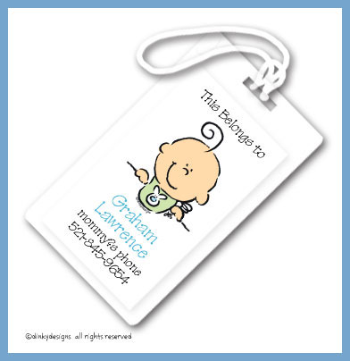 Boy baby bib face luggage tags, personalized