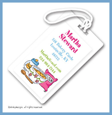 Baking goods luggage tags, personalized