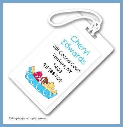 anana boat luggage tags, personalized
