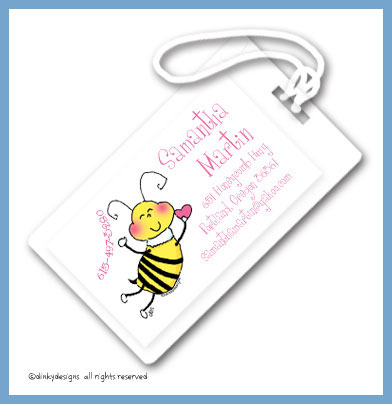 Bee-mine luggage tags, personalized