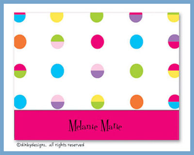 Hot dots white folded note cards, personalized