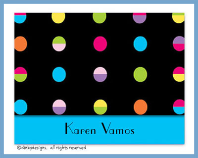 Hot dots black folded note cards, personalized