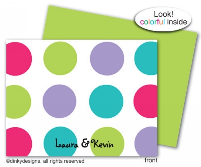 Pixie dots folded note cards, personalized