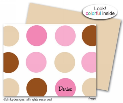 Bon-bon dots folded note cards, personalized