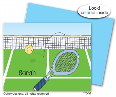 Tennis, anyone? folded note cards, personalized