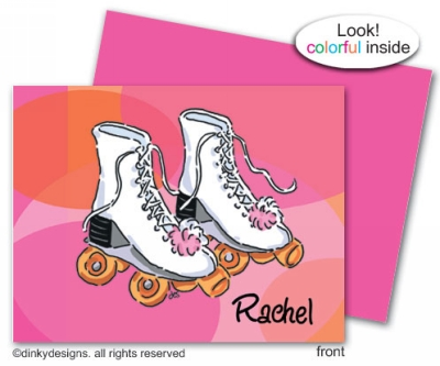 Roller girl folded note cards, personalized