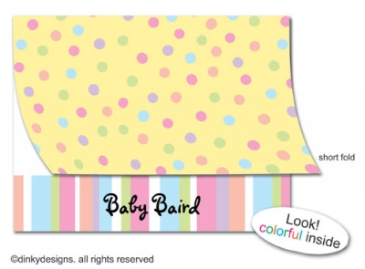 Pastel dots folded note cards, personalized