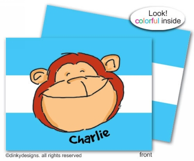 Monkey business folded note cards, personalized