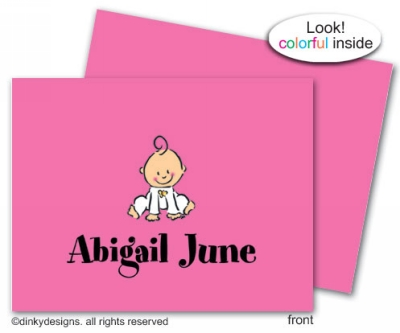 Baby steps - girl folded note cards, personalized