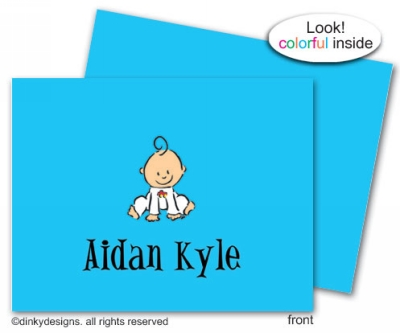 Baby steps - boy folded note cards, personalized