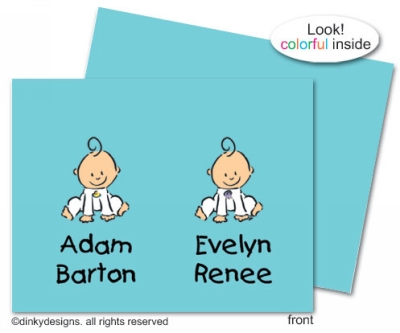 Baby steps - twins folded note cards, personalized