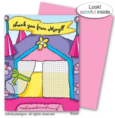 Princess bouncy house folded note card note card