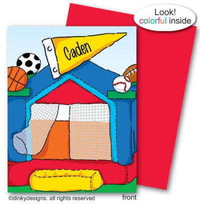 Sports fan bouncy house folded note card note card