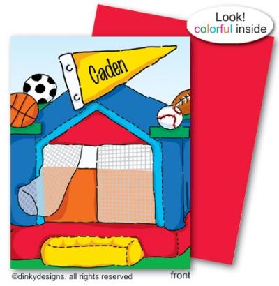 Sports fan bouncy house folded note card note card