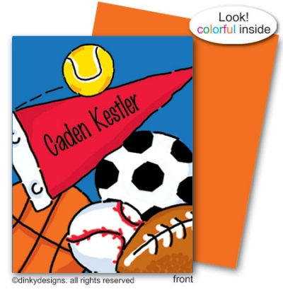 Sports fanatic note card folded note card note card