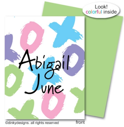 Tic-tac-toe folded note cards, personalized