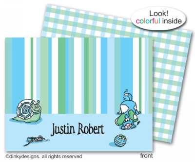 Snips & snails folded note cards, personalized
