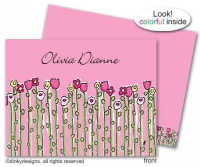 Petal pushers folded note cards, personalized