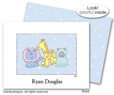 Giraffe, lion, bear folded note cards, personalized