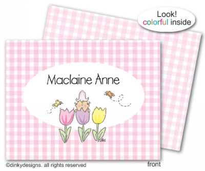 Gingham tulip trio folded note cards, personalized