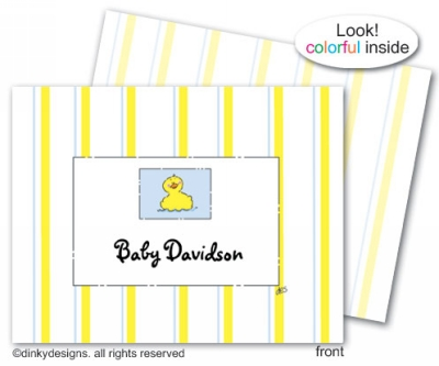 Rubber duckie folded note cards, personalized