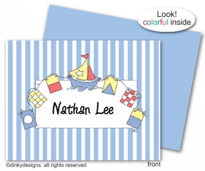 Nautical baby boy folded note cards, personalized